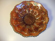 FENTON AMETHYST CARNIVAL GLASS MARIGOLD PEACOCK TAIL PATTERN FOOTED BOWL