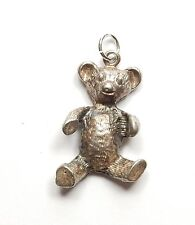 Vintage 925 Sterling Silver XL DETAILED ONE SIDED TEDDY BEAR Charm Pendant 3.7g