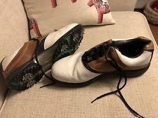 Footjoy Contour Golf Shoes Size 11W White/Brown- 54108