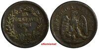 Mexico SECOND REPUBLIC Copper 1891 Do 1 Centavo Durango Mint RARE KM# 391.2