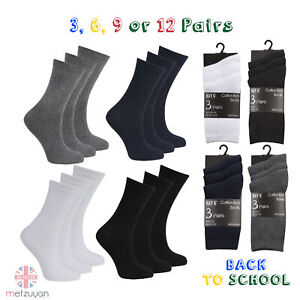 3 6 9 or 12 Pairs Kids Boys Girls Cotton Rich School Ankle Socks Plain Uniform