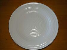 Food Network MERINGUE WHITE Set of 3 Dinner Plates 11 in Embossed Rings