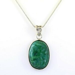 Emerald Gemstone Pendant in 925 Silver! Gift For Birthday- FREE CHAIN