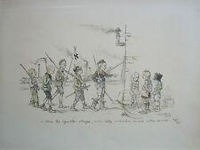 Francisque Poulbot, World War I    Original Lithograph 1915...A