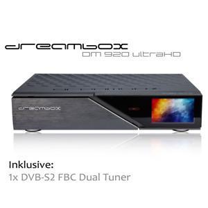 Dreambox DM920 UHD 4K E2 Linux Receiver mit 1 x DVB-S2 FBC Dual Tuner (B-Ware)
