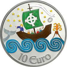 Monedas de plata Irlanda 10 euros San Brendan el Navegante 2011 en color