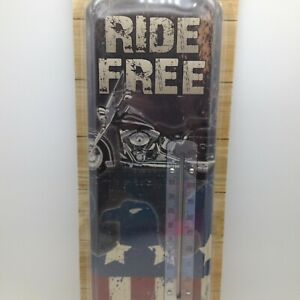 Ride Free Indoor Outdoor Thermometer Motorcycle Eagle Flag Metal 17.5 in Tall
