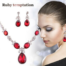 Red Zircon Necklace Wedding Silver Plated Rhinestone Crystal Jewelry Sets