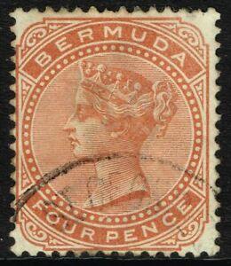 SG 28a BERMUDA 1904 - 4d ORANGE-BROWN - USED