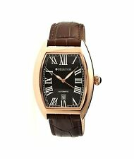 NEW Heritor HR2206 Men's Redmond Black Dial Brown Leather Rose Gold-Tone Watch