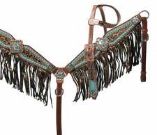 Showman Bejeweled Metallic Leopard Print Leather Headstall & Breast Collar Set