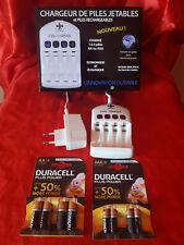 Lot Chargeur de pile jetables/rechargeable + piles alkalines AA / AAA