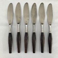 6 Butter Knives Wood Handle Takashimaya Japan Post-Dansk Fjord Danish Modern