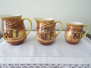 """3 Falcon Ware Graduated Jugs """"Fireside"""" Pattern - 1920/30s Lawrence & Grundy"""