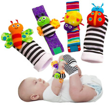 Soft Baby Socks Toys Wrist Rattles and Foot Finders for Fun Butterflies and Lady