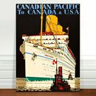"""Vintage Travel Poster Art ~ CANVAS PRINT 16x12"""" ~ Canada Pacific Cruise Ship"""