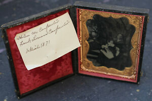 Antique 1800s Picture Photograph Hinged Book Frame Gold GIlt Engraved Leather