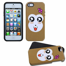 iPhone SE 5S HARD & SOFT RUBBER DUAL LAYER HYBRID CASE BROWN WHITE CUTE MONKEY