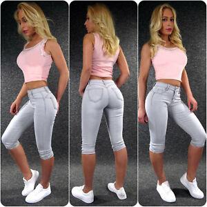 Push Up Capri Jeans XS S M L XL ZAZOU sexy Po Damen Shorts Sommer Hose 7601