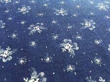 "Antique Indigo Fabric Blue and White Cotton Floral 1800's 24"" W selvedge"