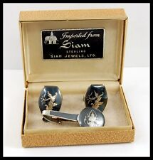 Vintage SIAM STERLING Silver Asian Niello Cufflinks & Tie Clasp & Hard Shell Box