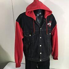 Vtg 90's HARLEY DAVIDSON Black DENIM Hooded Jacket CUSTOM CHROME TRUCKER Coat XL