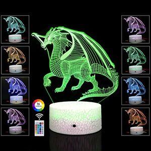 3D Night Light DinoSaur Illusion Lamp Best Gift-16 Color w/ Touch Sensor