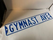 Gymnast Ave Street Sign Heavy Gymnastics Novelty Embossed Blue Wall Room Gym