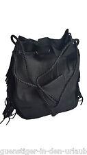TCM Tchibo Beuteltasche Damen Tasche Handtasche mit Fransen schwarz