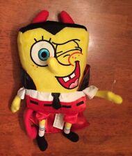 """Sponge Bob Squarepants 2007 Dracula Devil Horns Halloween costume 9"""" plush"""
