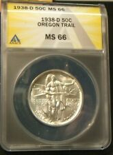 1938-D ANACS MS 66 OREGON TRAIL HALF DOLLAR ~~ BEAUTIFUL BLAST WHITE STRIKE