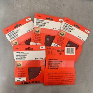 "25 Black & Decker A1603 100mm / 4"" Quick Fit Sanding Discs 40g (5 Packs of 5)"