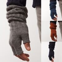 Men Cashmere Knitted Fingerless Gloves Casual Solid Color Long Winter Mitten