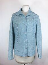 LL Bean Cardigan Sweater Sz L Blue Button Down Wool Blend Collar Soft