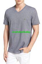 NEW Lacoste Mens V-Neck Cotton Navy Blue/White Striped T-Shirt Tee 4 MEDIUM $60