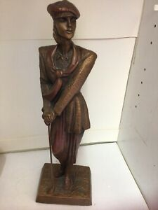 Austin Golf Sculpture Art Deco Lady  Called Birdie Lady Stature  signed By Danel