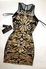 NWT Bebe black gold sequin deep v neck mesh sparkle mesh top dress XS 0 2 sexy