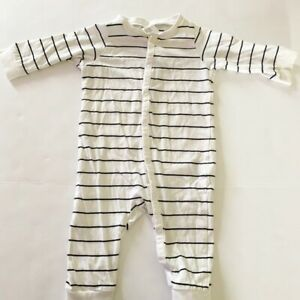 H&M striped one piece romper 4-6 month white blue