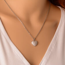 Fashion Womens Crystal Heart Pendant 2mm Stainless Steel Rolo Chain Necklace