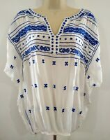 LUCKY BRAND Peasant Top EMBROIDERED SHEER RAYON BLUE WHITE Women's MEDIUM bOhO