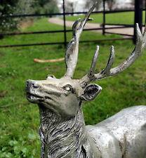 stag deer doe reindeer silver finish stunning detail head held proud