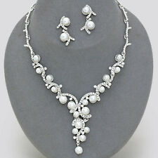 Wedding White Pearl Crystal Bridal Necklace Set Bridesmaid Elegant Jewelry