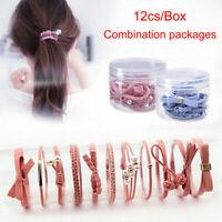 Korean Women Hair Tie Ponytail Band 12Pcs/Set Rope Elastic Rubber Holder Hair