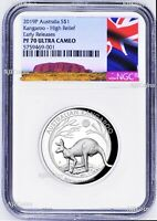 2019 P Australia HIGH RELIEF 1oz Silver Kangaroo $1 Coin NGC PF70 ER New Label