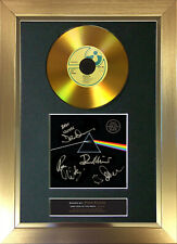 More details for gold disc pink floyd dark side of the moon signed autograph mounted print a4 96