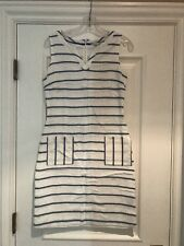 BODEN Blue/Ivory Embroidered Shift Dress Small