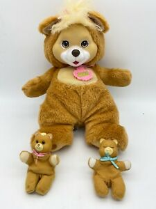 Vintage 1991 Hasbro Baby Cub Surprise Brown Bear Mum Plush Doll With 2 Cubs