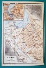 1931 Baedeker Map - Italy Como Town Plan Environs + Railroads