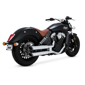 """Vance & Hines 3"""" Twin Slash Slip-On Mufflers For 15-18 Indian Scout - Chrome"""