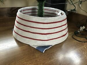 Crate and Barrel Red and White Polyester Tree Collar Christmas
